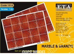 ETA diorama 1514 Imprimé immitation Marbre et granit rouge 1/6