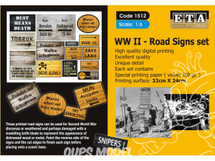 ETA diorama 1512 Imprimé Panneaux routiers WWII 1/6