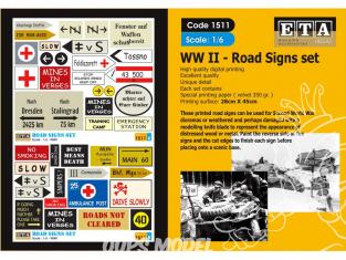 ETA diorama 1511 Imprimé Panneaux routiers WWII 1/6