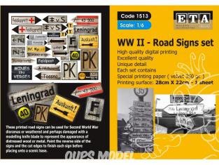 ETA diorama 1513 Imprimé Panneaux routiers WWII 1/6