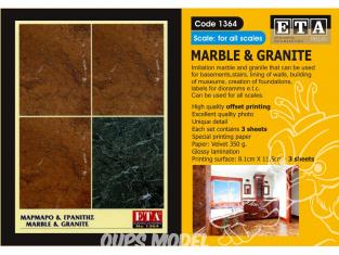 ETA diorama 1364 Imprimé Marbre et granit 1/35 - 1/24 - 1/16 - 1/72 - 1/48