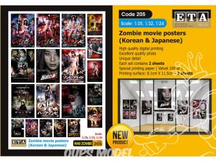 ETA diorama 205 Imprimé Posters films Zombi Japonais - Coreens 1/35 - 1/32 - 1/24