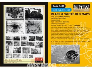 ETA diorama 1405 Imprimé Cartes anciennes Noir et blanc 1/35 - 1/48 - 1/72 - 1/76
