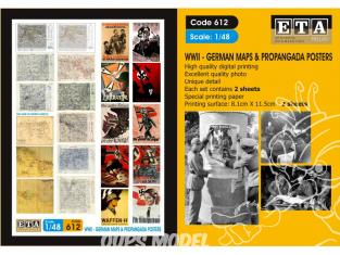 ETA diorama 612 Imprimé Cartes Allemandes et Affiches propagande WWII 1/48