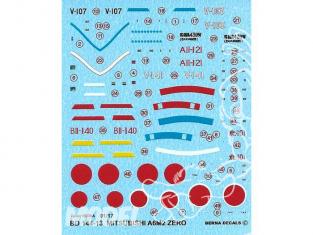 Decalques Berna decals BD144-13 Mitsubishi A6M2 Zero Model 21 1/144