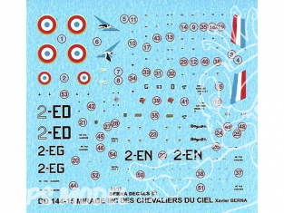 DECALQUES BERNA DECALS BD144-15 Mirage IIIC Les Chevaliers du ciel 1/144