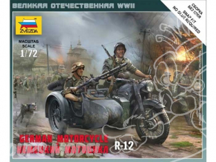 Zvezda maquette plastique 6142 moto allemande side car bmw r12 1/72