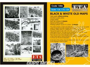 ETA diorama 1406 Imprimé Cartes anciennes Noir et blanc 1/35 - 1/48 - 1/72 - 1/76