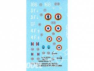DECALQUES BERNA DECALS BD144-17 Douglas SBD-5 Dauntless Indochine 1/144