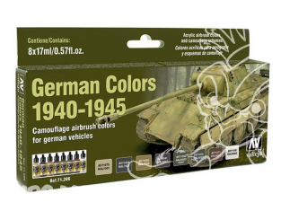 Vallejo Set Model Air 71206 Couleurs Véhicules Allemands 1940 - 1945 8 x 17ml