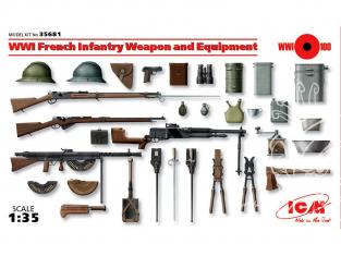 Icm maquette militaire 35681 Armement et equipement Infanterie Française WWI 1/35