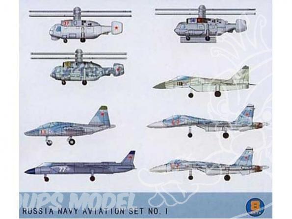 Trumpeter maquette avion 03417 SET ASSORTIMENT D&39AVIONS et d&39helicoptere DE L&39AERONAVALE RUSSE 1/700