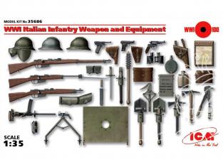 Icm maquette militaire 35686 Armement et equipement Infanterie Italienne WWI 1/35