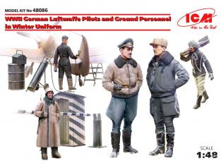 Icm maquette figurines 48086 Pilotes et personnel au sol Allemand Luftwaffe WWII en uniforme Hiver 1/48