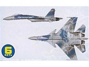 Trumpeter maquette avion 06215 SET DE 6 AVIONS SUKHOI SU-27K FLANKER D 1/350