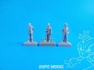 CMK Personnage resine F72326 3 Membres d'équipage Barracuda debout 1/72