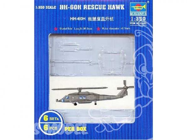 Trumpeter maquette avion 06232 SET DE 6 HELICOPTERES MH-60H RESCUE HAWK 1/350