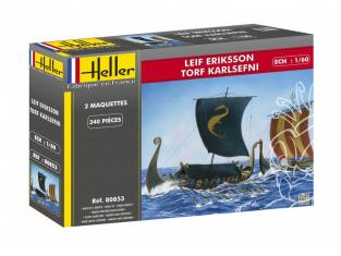 Heller maquette bateau 80853 Deux Drakkars Leif Eriksson et Thorfinn Karlsefni 1/60