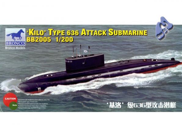 "BRONCO maquette sous marin bb2005 CLASSE ""KILO"" TYPE 636 1/200"