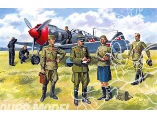 Icm maquette figurines 48084 Pilotes et personnel au sol Sovietique WWII 1/48