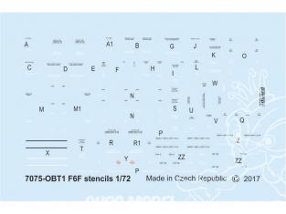 Eduard Decalques avion D72014 Marquages - Stencils Grumman F6F Hellcat 1/72