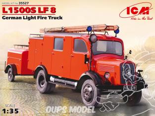Icm maquette militaire 35527 Mercedes-Benz L1500S LF8 Pompier avec remorque 1/35