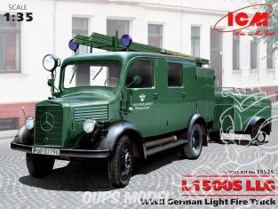 Icm maquette militaire 35526 Mercedes-Benz L1500S LLG Pompier avec remorque 1/35