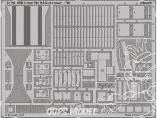 Eduard photodecoupe 53192 DMK U-Boat VIIc U-552 Partie 2 Tower Trumpeter 1/48