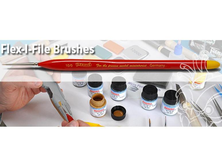 FLEX-I-FILE BRUF-5P Lot de 5 Pincaux pointus 10/0,5/0,4/0,3/0 et 2/0