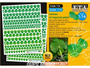 ETA diorama 116 Imprimé Feuilles de plantes tropicales - Piper peltatum 1/16
