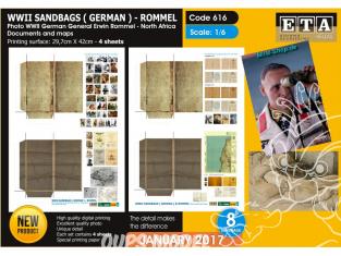 ETA diorama 616 Imprimé Sacs de sable Allemands et photos documents et cartes Afrique du Nord - Rommel WWII 1/6