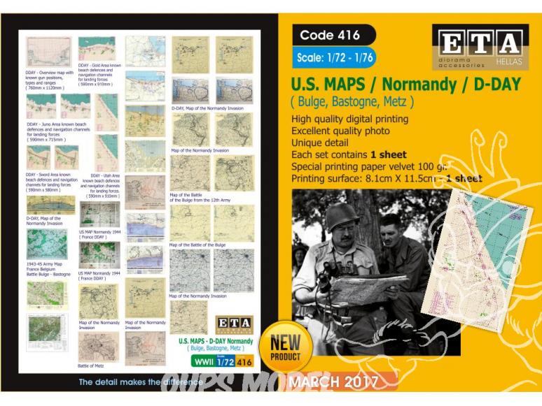 ETA diorama 416 Imprimé Cartes de Normandie - D-day US WWII 1/72