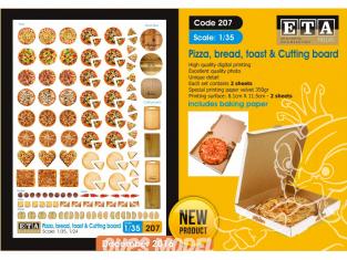 ETA diorama 207 Imprimé Pizzas - pains - toasts - planches à découper 1/35 - 1/32 - 1/24
