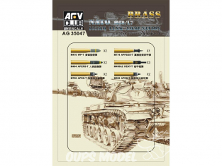 AFV Club accessories militaire 35047 SET DE MUNITIONS DE 105MM pour canon M68/L7 (chars M-48 Patton) 1/35