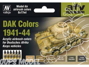 Vallejo Set Model Air 71207 Couleurs DAK Véhicules Allemands Afrika korps 1941-44 6 x 17ml
