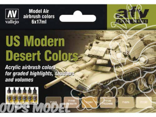 Vallejo Set Model Air 71209 Couleurs US Desert moderne 6 x 17ml