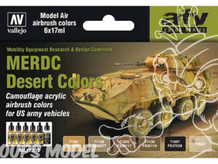 Vallejo Set Model Air 71212 Couleurs MERDC Desert US Army 6 x 17ml