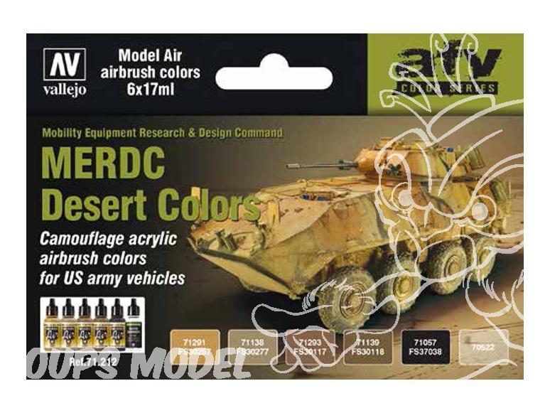 Vallejo Set Model Air 71212 Couleurs MERDC Desert US Army 6 x 17ml