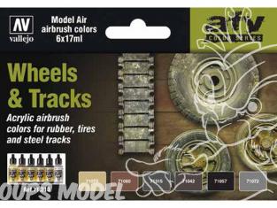 Vallejo Set Model Air 71213 Couleurs Roues et chenilles 6 x 17ml