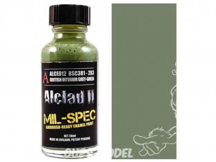 Peinture enamel Alclad II Mil-Spec ALCE012 Utilisation a l'aerographe Interieur gris vert Anglais 30ml