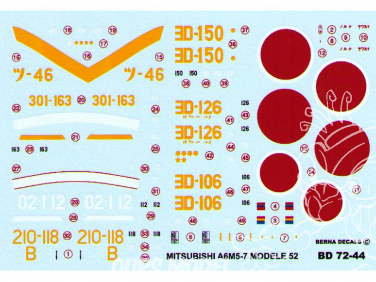 Decalques Berna decals BD72-44 MITSUBISHI ZERO A6M5-7 MODELE 52 1/72