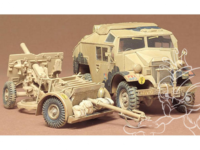 tamiya maquette militaire 35044 British 25 Pndr Gun/Quad Kit 1/
