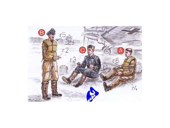 CMK figurine 72038 PILOTE DE BOMBARDIER ET MECANICIENS ALLEMAND