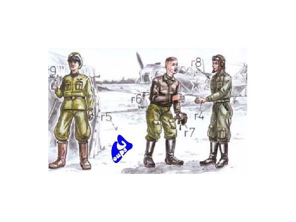 CMK figurine 72047 PILOTE ET MECANICIENS SOVIETIQUES 1/72