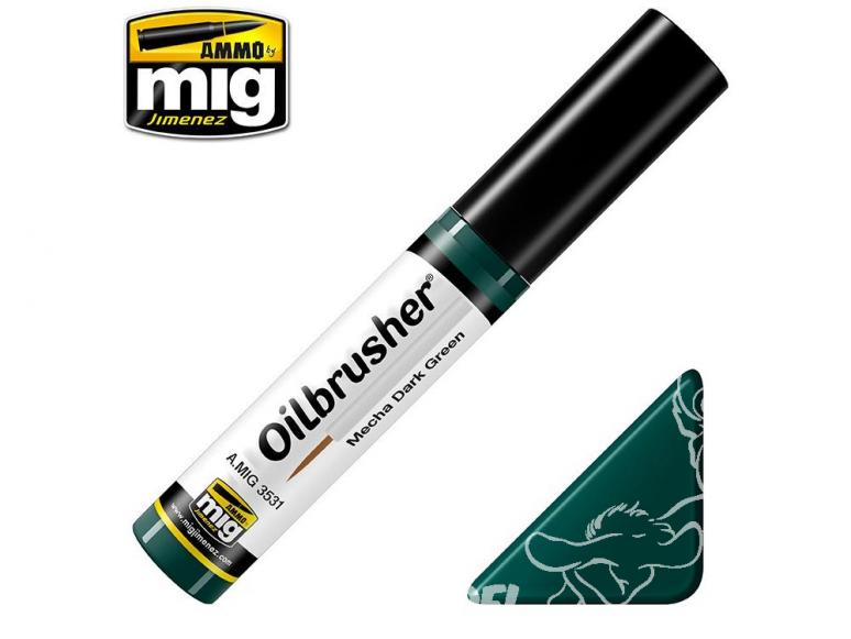 MIG Oilbrusher 3531 Vert foncé Mecha Peinture a l'huile avec applicateur