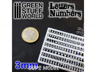 Green Stuff 364374 Lettres et nombres 3 mm