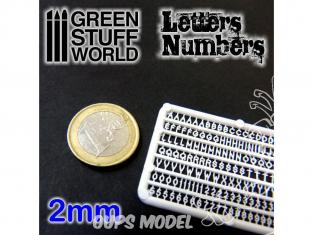 Green Stuff 364350 Lettres et nombres 2 mm