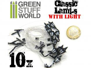 Green Stuff 367696 10x Lampadaires classiques de MUR avec LED