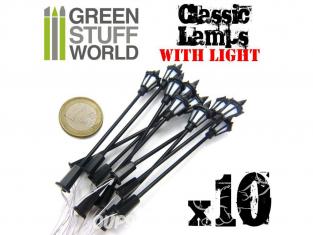 Green Stuff 367689 10x Lampadaires classiques avec LED
