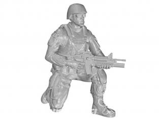 CMK Personnage resine F48331 Soldat à genoux (au genou droit), US Army Infantry Squad 2e Division 1/48
